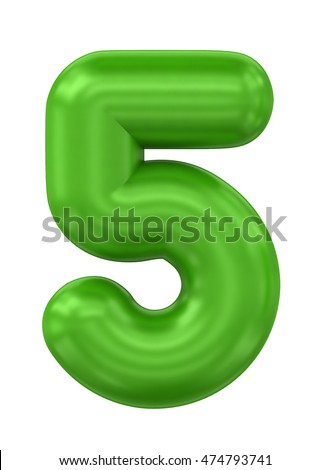 three-dimensional rendering ballon number in green on a white background