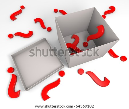 Three dimensional rendering of red question marks symbol inside and outside the gray box