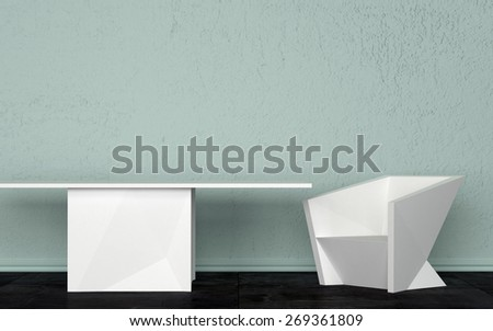 Three Dimensional Room Interior Design with White Table and Chair Against Light Green Wall. 3d Rendering. - stock photo