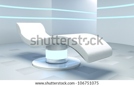 three-dimensional room of the future with lights and relaxing bed for patient - stock photo