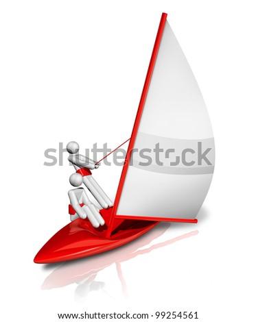 three dimensional sailing symbol, sports series - stock photo