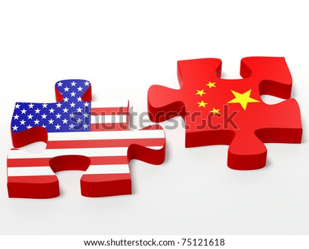 three dimensional shape  puzzle flag USA vs. China - stock photo