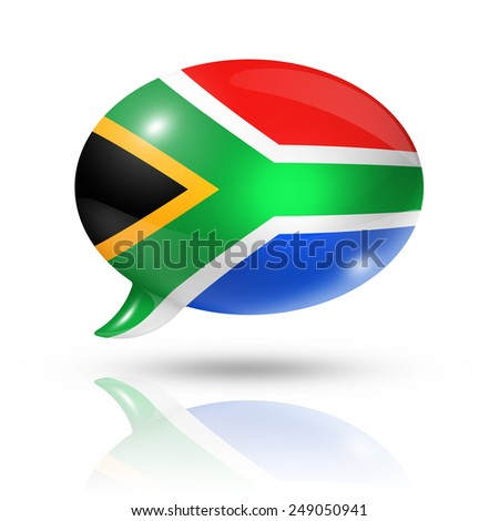 three dimensional South Africa flag in a speech bubble isolated on white with clipping path - stock photo