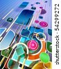 Three-dimensional space with colorful shapes. Digital illustration - stock photo