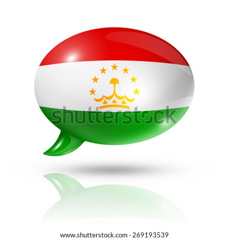 three dimensional Tajikistan flag in a speech bubble isolated on white with clipping path - stock photo