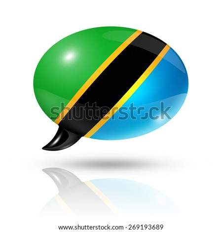 three dimensional Tanzania flag in a speech bubble isolated on white with clipping path - stock photo