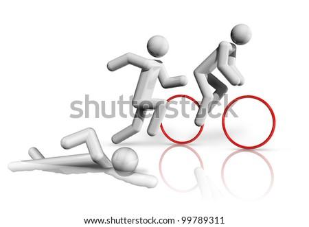 three dimensional triathlon symbol - stock photo