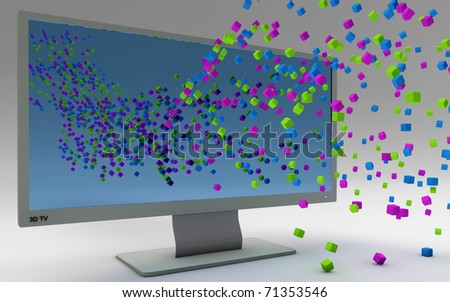 Three dimensional TV concept isolated n white - stock photo