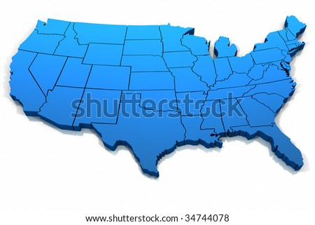 Three dimensional United States blue tone outline on white background. - stock photo