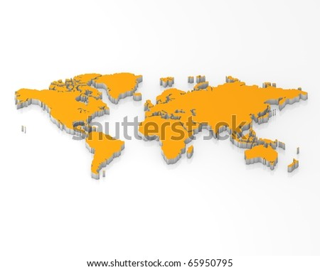 Three dimensional white orange map world - stock photo