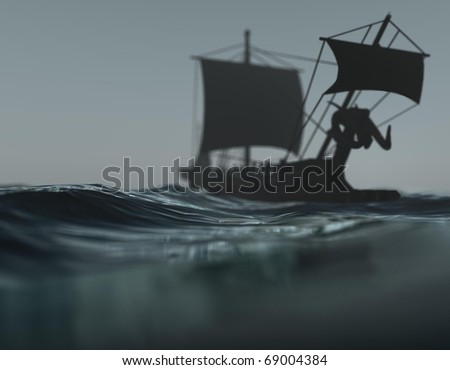 three-dimensional, wood, an old ship in the water as fog and storm - stock photo