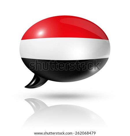 three dimensional Yemen flag in a speech bubble isolated on white with clipping path - stock photo