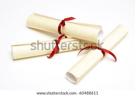 Three Diplomas - stock photo