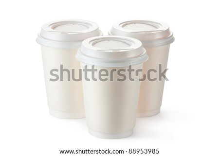Three disposable coffee cups with plastic lid. Isolated on a white. - stock photo