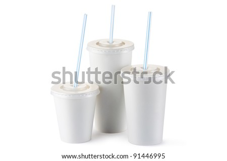 Three disposable cups for beverages with straw. Isolated on a white. - stock photo