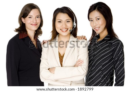 Three diverse and attractive young women in business attire on white background