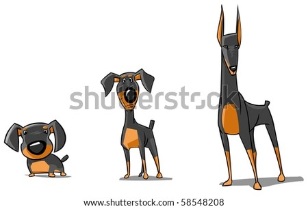 Three Doberman Pinschers. - stock photo