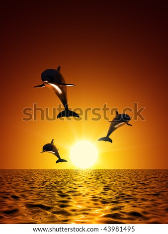 Three dolphins swimming in the ocean - stock photo