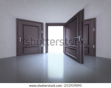 three doors interior with the middle open one in 3D illustration - stock photo