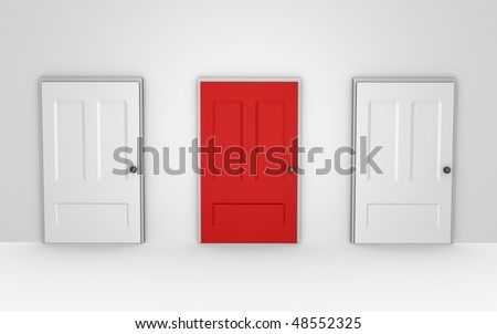 Three doors to choose from - a 3d image - stock photo