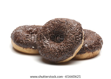 three doughnut with chocolate - stock photo