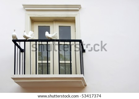 Three Dove at White Balcony Windows - stock photo