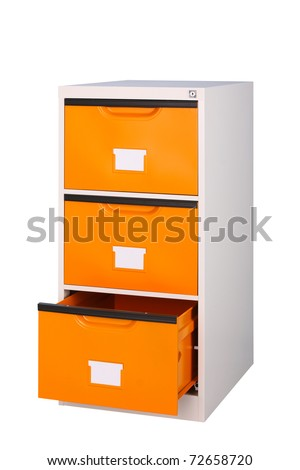 Three drawers cabinet in bright orange color isolated on white - stock photo
