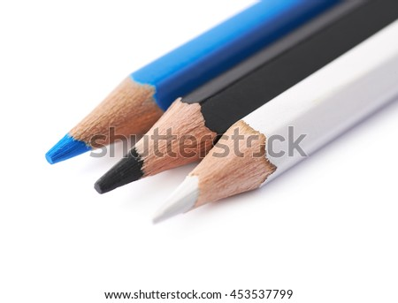 Three drawing pencils composition isolated over the white background, close-up crop fragment - stock photo