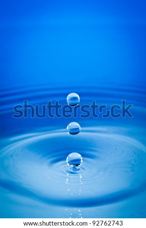 Three drops of water fall downwards - stock photo