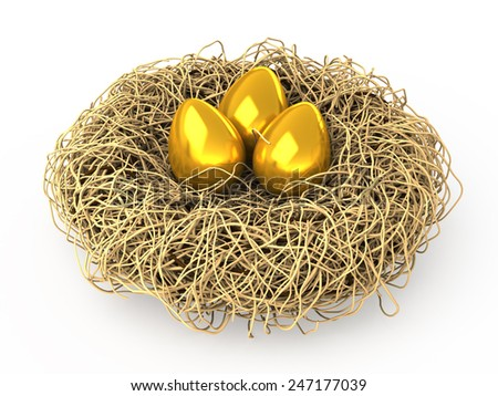 Three Easter golden eggs in a nest on white background. Conceptual 3d illustration - stock photo
