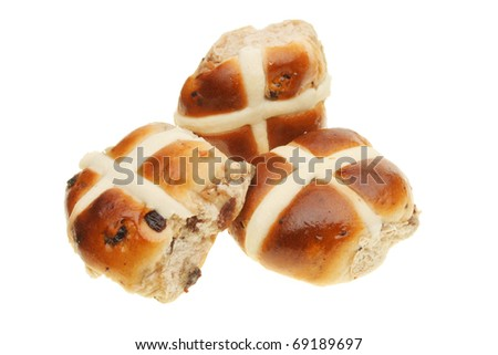 Three Easter hot cross buns isolated on white - stock photo