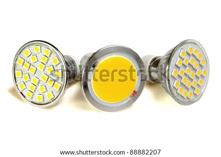 three efficient light sources - stock photo