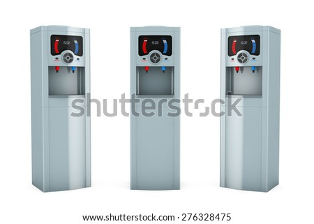 Three Electric water coolers on a white background - stock photo