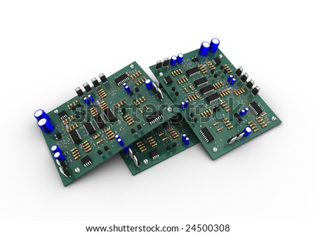 Three electronic circuits on white background - stock photo