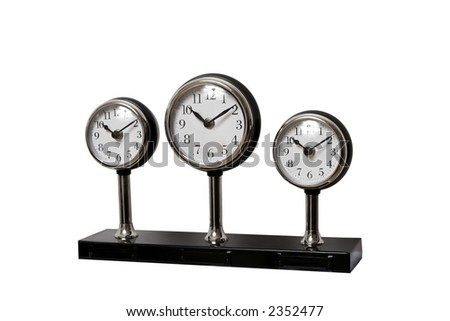 Three elegant mechanical clocks - stock photo