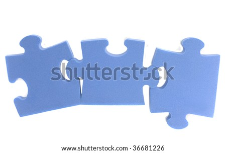 Three elements puzzle of blue colour isolated on white - stock photo