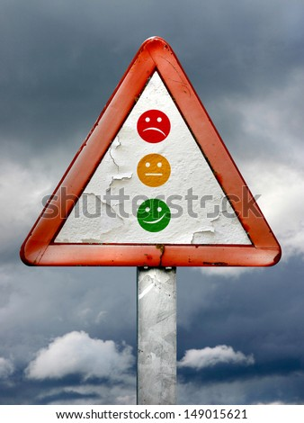 Three emotions and traffic lights - stock photo