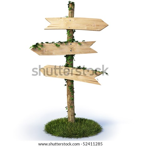 three empty arrow sign made out of wood on a patch of grass. with clipping path. - stock photo