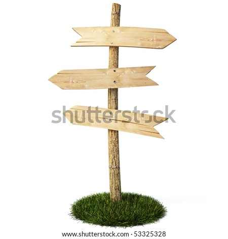 three empty arrow sign made out of wood on a patch of grass. with clipping path.
