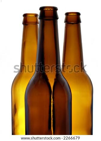 Three empty beer bottles - stock photo