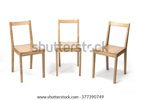 Three empty(blank, vacant, hollow) square wood chair for dining, office, living with no people isolated white at the studio. - stock photo