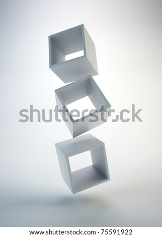 Three empty floating boxes - Abstract composition - stock photo