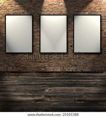 Three empty frames in a room against a white brick wall - stock photo
