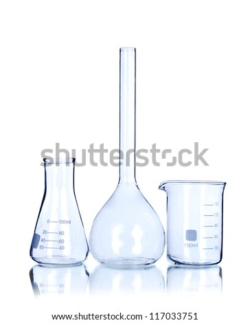 Three empty laboratory glassware isolated on white