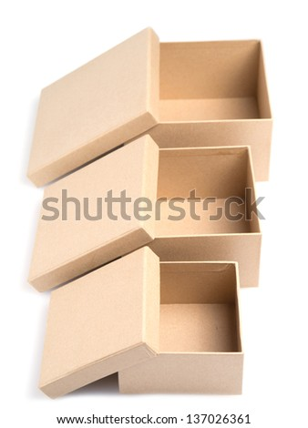 Three empty paper boxes of different size