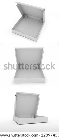 three empty pizza box isolated on a white background. - stock photo