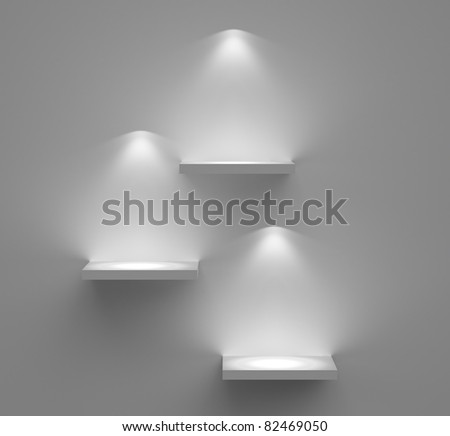 Three empty shelves - stock photo