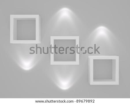 Three empty white bookshelves. - stock photo
