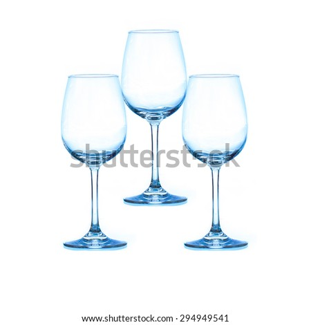 three empty wine glass with filter - stock photo