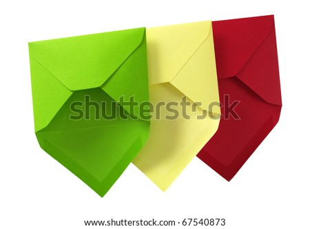 Three envelope isolated on the white surface with paths. - stock photo